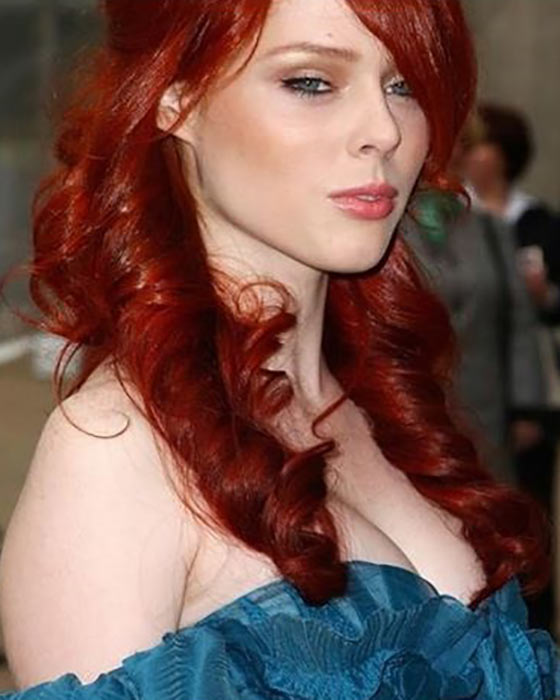 Red Twisted Curly Hairdo