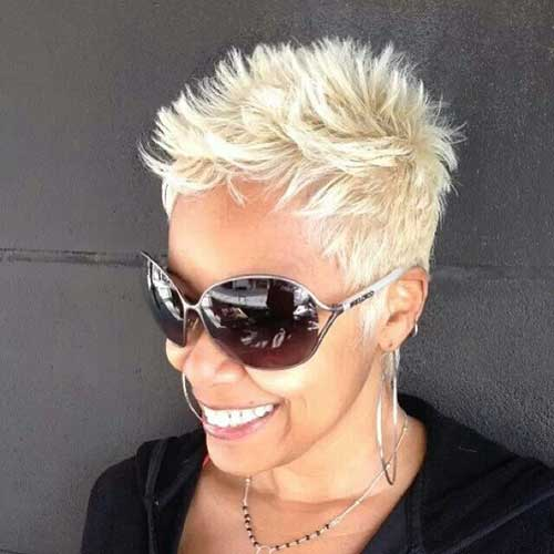 Simple Short Spiky Blonde Haircut for Black Women