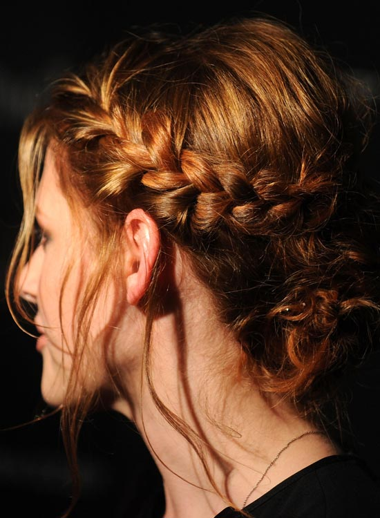 Single-Braided Low Bun With Puffy Crown And Loose Strands