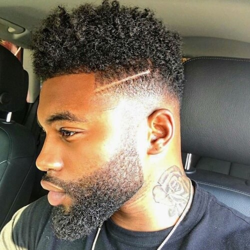 Small Afro Hairstyles for Men with Shaved Lines