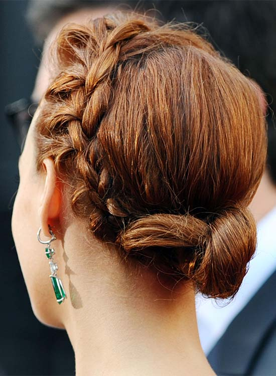 Small Low Side-Braided Twisted Bun With Free Ends
