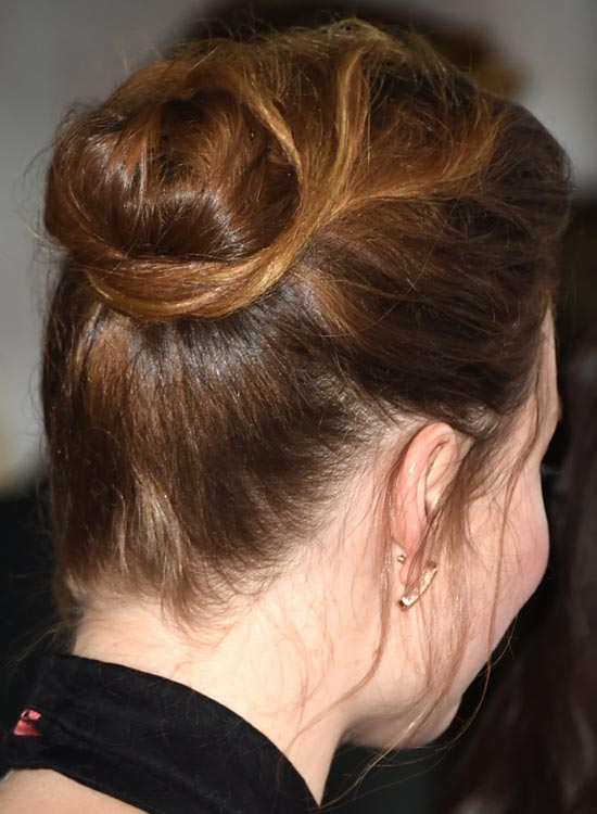 Solid Semi-High Bun with Messy Twisted Wraparound