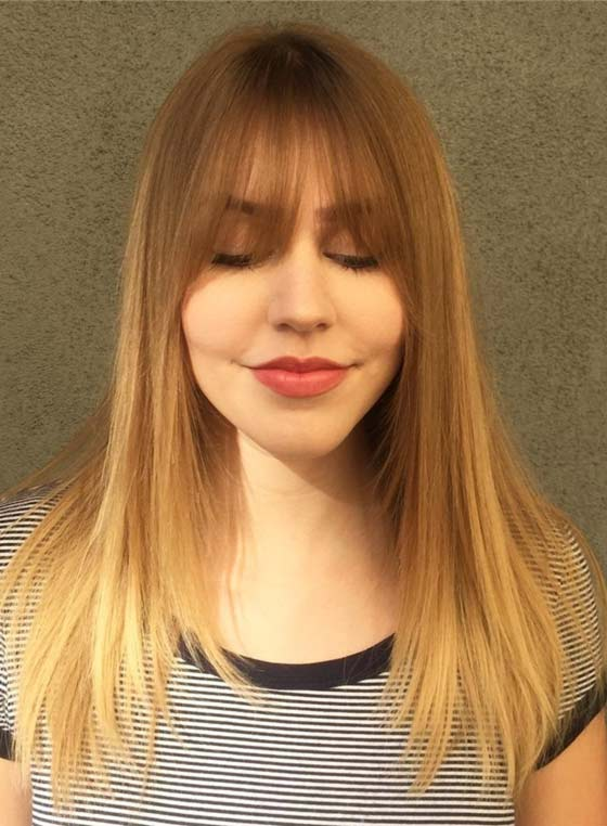 Straight Ombre Layers And Eye Grazing Bangs