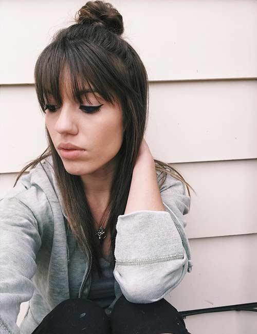Straight Top Knot With Bangs