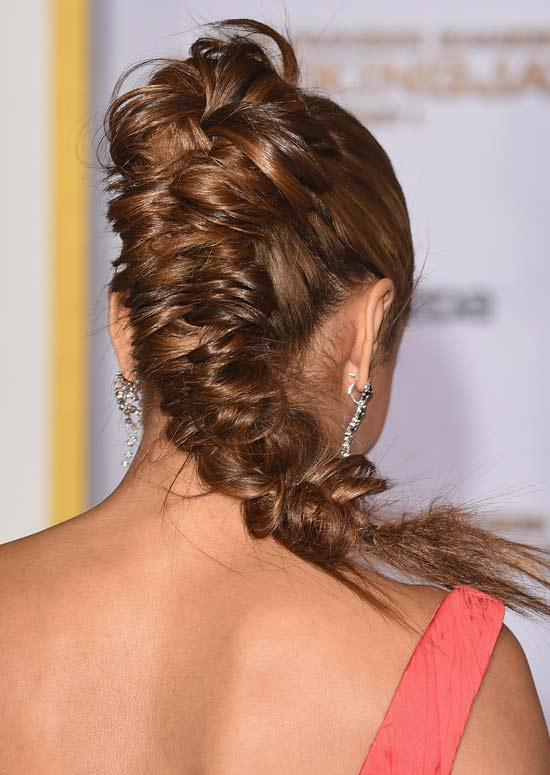 Thick High and Messy Fishtail Braid with Semi-Circular Top