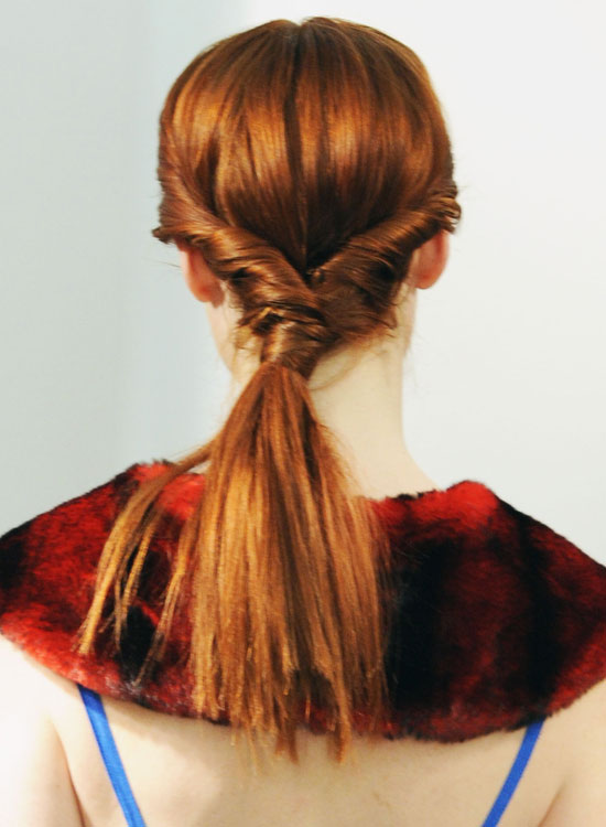 Thick Low Ponytail with Side Twists and Hair Wrap