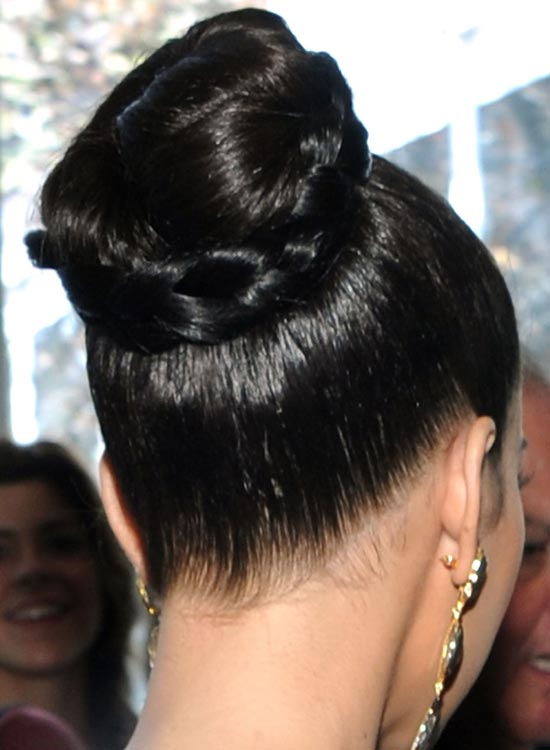 Tight High Bun with Braided Wraparound