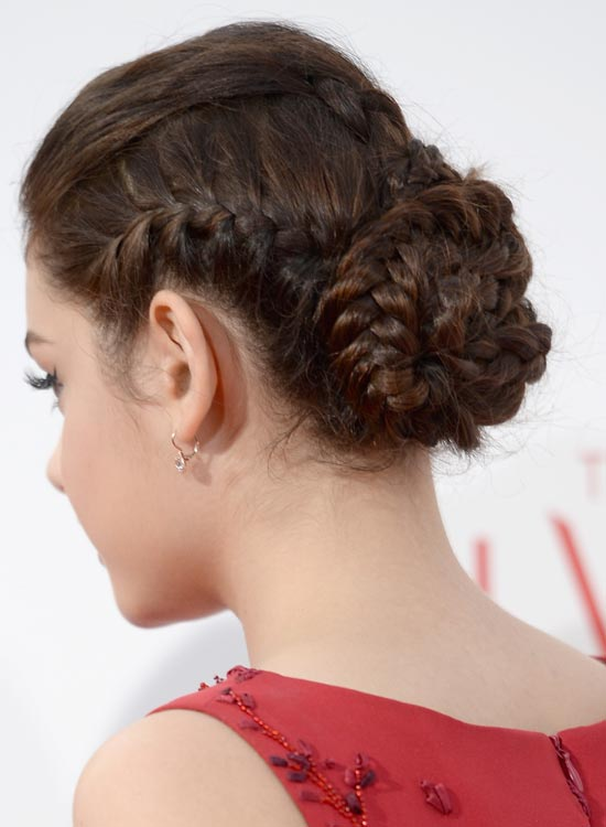 Tight Multi-Braided Bun With Slight Puff