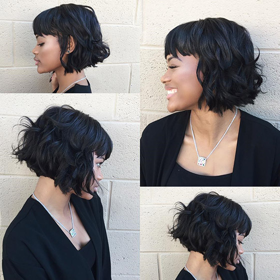 Tousled Bob With Eyebrow Grazing Bangs