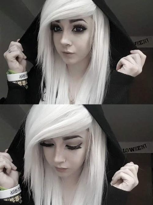 White Emo Hair With Side Swept Bangs