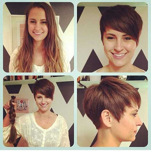 Women Before and After Short Hair